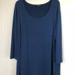 Slinky Brand Blue Long Scoop Neck Tunic Top
